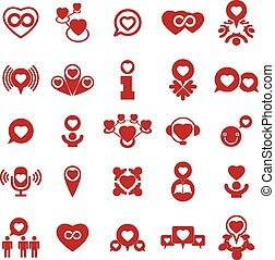 Love theme vector icons set, concep