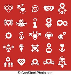 Love theme vector icons set, conceptual valentine and romantic symbols collection.