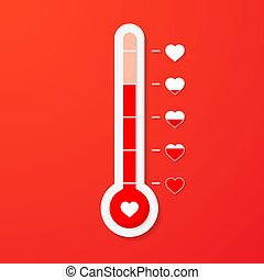 Love thermometer. Valentines Day card element in simple flat style. Vector illustration
