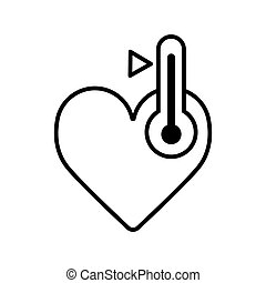 Love thermometer Valentines Day card element vector illustration. Heart and thermometer. Hot heart. High temperature.