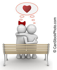Love thinking embracing couple - Love, valentine day series;...