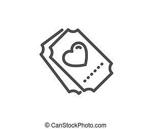 Love ticket line icon. Heart emotion sign. Vector