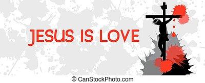 love-, timeline, osłona, jezus