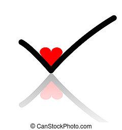 Love to check - Illustration checkmark love on a white...