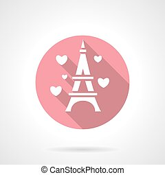 Love tour round pink vector icon