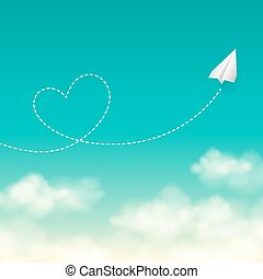 Love travel concept a paper plane flying in the sunny blue sky vector background