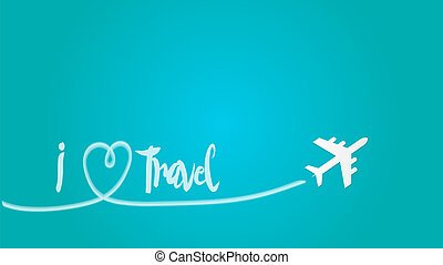 Love Travel Concept Illustration A Airplane flying in the dark blue sky leaving behind a love shaped smoke trail. And Text I love travel.