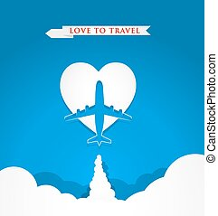 Love travel concept with airplane on heart shape on blue background