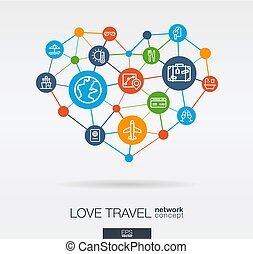 Love travel integrated thin line icons in heart shape. Digital neural network concept.