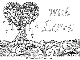 Beautiful Hearted shape tree on waving floral ground for cards, invitation and coloring book page