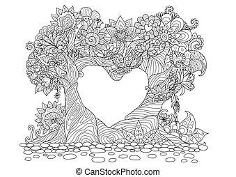 Love tree - Flowers in heart shape on floral ground line art...