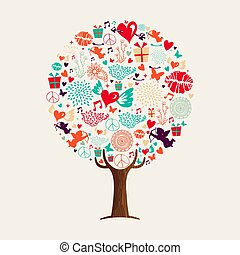 Love tree concept for valentines day card