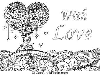 Love tree - Beautiful Hearted shape tree on waving floral...