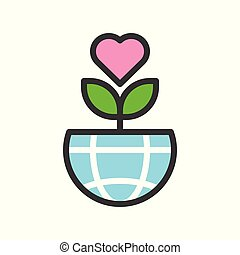 Love tree on Globe or planet earth icon filled line flat design