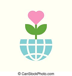 Love tree on Globe or planet earth icon flat design