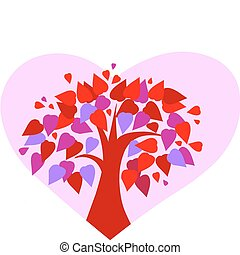 love tree on pink heart background