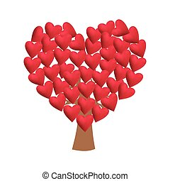 Love tree on white background, vector illustration.
