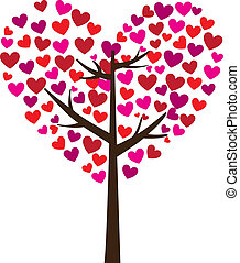Love tree - tree with heart leaves on white background,...