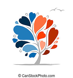 Love tree with blue and red parts for your design