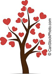 Love tree with heart leaves isolated on white background....