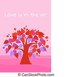 love tree with heart shape leafs on pink background