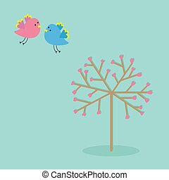 Love tree with hearts and bird Flat design