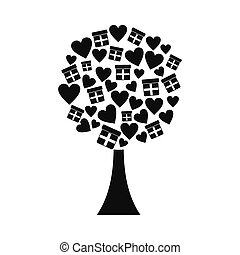 Love tree with hearts and gift boxes icon