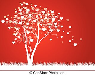 Love tree with hearts on a grass, illustration