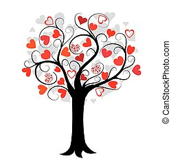 love tree with red hearts