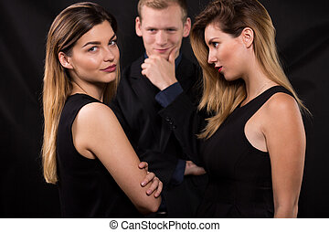 Love triangle concept - Two blonde women and man - love ...
