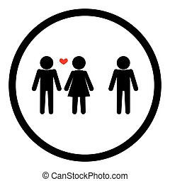 Love triangle relationship sign black on white background