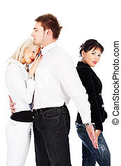 Love triangle between boy and two girls, isolated on white...