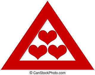 Love Triangle - Three red hearts within a trianlge