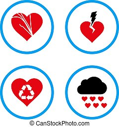Love Troubles Rounded Vector Icons