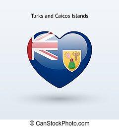 Love Turks and Caicos Islands symbol. Heart flag icon....