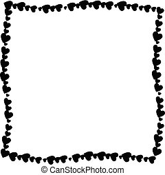 Love twisted frame made of black hearts isolated on white background.