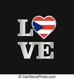 Love typography Puerto Rico flag design vector beautiful lettering