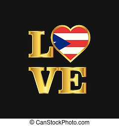 Love typography Puerto Rico flag design vector Gold lettering