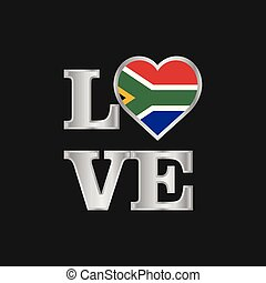 Love typography South Africa flag design vector beautiful lettering