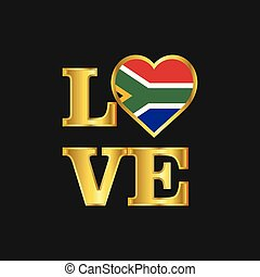 Love typography South Africa flag design vector Gold lettering