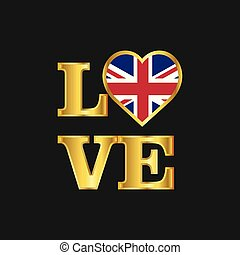 Love typography United Kingdom flag design vector Gold lettering