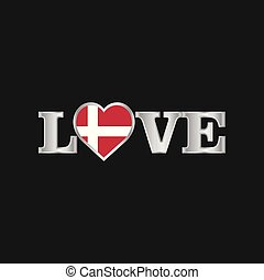 Love typography with Denmark flag design vector