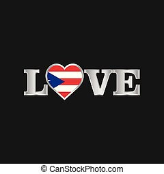 Love typography with Puerto Rico flag design vector