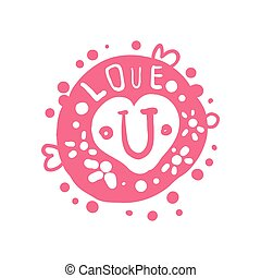 Love U logo template, colorful hand drawn vector Illustration in pink colors