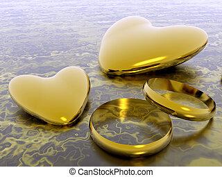 love., valentin, anneaux, cœurs, mariage, vacances