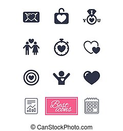 Love, valentine day icons. Target with heart.
