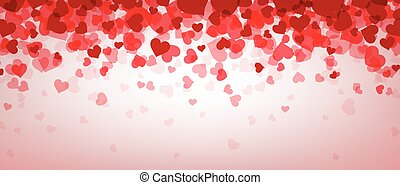Love valentine's banner with hearts. - Love pink valentine's...
