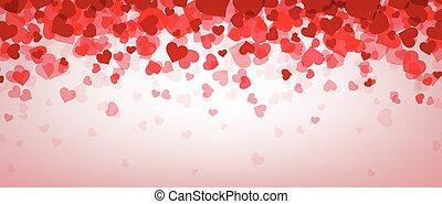 Love valentine's banner with hearts. - Love pink valentine's...