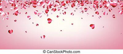 Love valentine's banner with hearts. - Pink love Saint...