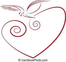 love symbol- dove and heart